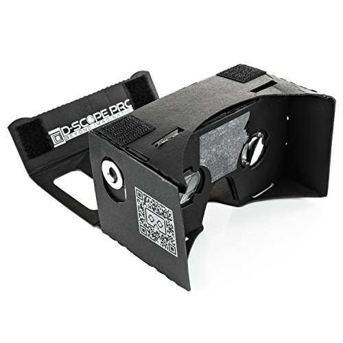 Black Google Cardboard Kit with Straps by D-scope Pro 3D Virtual Reality Compatible with Android & Apple Easy Setup Instructions Machine Cut Quality Construction 45mm Lenses HD Visual Experience