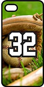 Baseball Sports Fan Player Number 32 Black Rubber Decorative iphone 4s Case