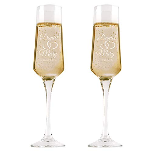P Lab Set of 2, Bride Groom Names & Date Hearts, Personalized Wedding Toast  Champagne Flute Set, Wedding Toasting Glasses - Etched Flutes for Bride &