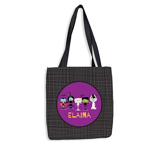 (Ghoulish Friends Personalized Halloween Treat Bag | Custom Trick-Or-Treat Tote | Custom Printed Halloween Tote for)