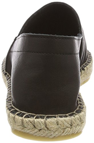Pieces Pskatie Leather, Espadrilles Femme Noir (Black)