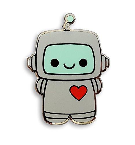 Cute Robot (Pinsanity Cute Robot with a Heart Enamel Lapel Pin)