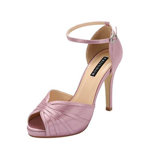 ERIJUNOR E1773 Women High Heel Sandals Ankle Strap Satin Bridal Evening Prom Shoes Lavender Size 10 ()