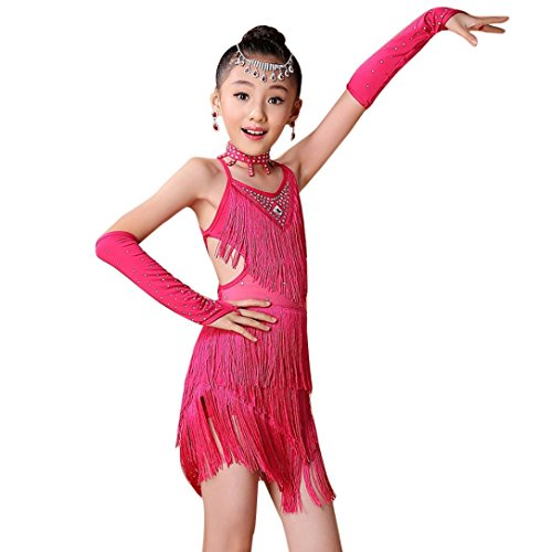 FEITONG Kids Girls Latin Ballet Practice Dance Dress Dancewear Ballroom Dance Costumes + Necklace+Cuff (Hot Pink, (Dance Costumes Dancewear For Sale)