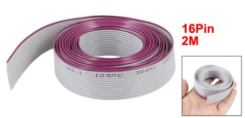 uxcell 2 m Long AWM 2651 105 C 300V VW-1 16 Pin Flexible Flat Ribbon Cable Gray