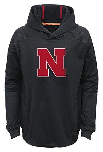 s Youth Boys Mach Pullover Hoodie, L(14-16), Black (Nebraska Huskers Sweatshirt)