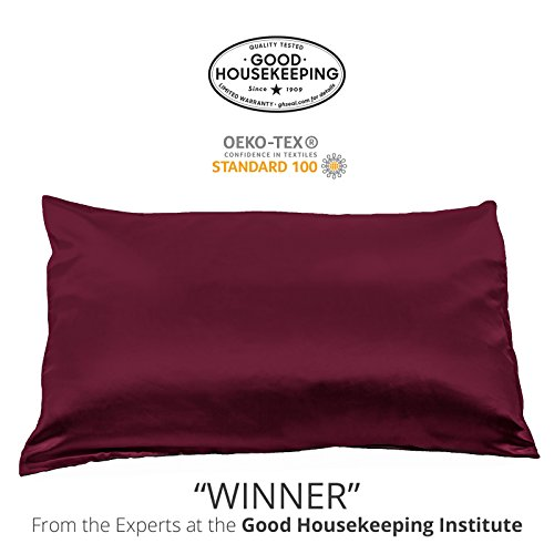 Fishers Finery 25mm 100% Pure Mulberry Silk Pillowcase Good Housekeeping Winner (Red, Q)