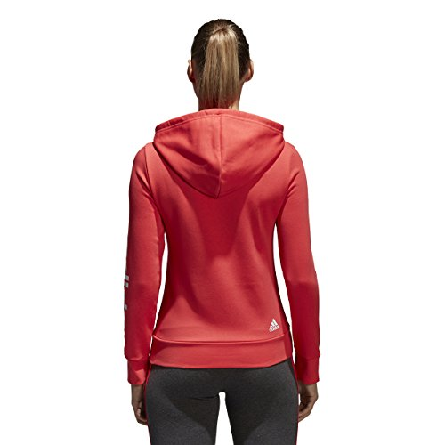 adidas Women's Essentials Linear Full Zip Fleece Hoodie, Real Coral/White, X-Small by adidas (Image #1)