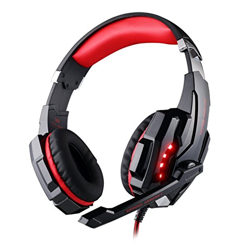 Kotion Each G9000 USB 7.1 Surround Over-Ear Gaming Headset 3.5mm Game Headphone Earphone with Microphone LED Light for Laptop Tablet Mobile Phones Headband