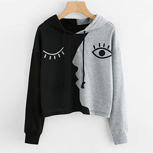 Mr.Macy Hot Sale Women Hooded Splicing Face Long-Sleeved Sweater Crop Patchwork Blouse Pullover Tops (2XL, - Women Sale Macys