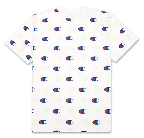 Champion Men's Big & Tall Short Sleeve All Over Print Big C Logo Heritage T-Shirt White XLT