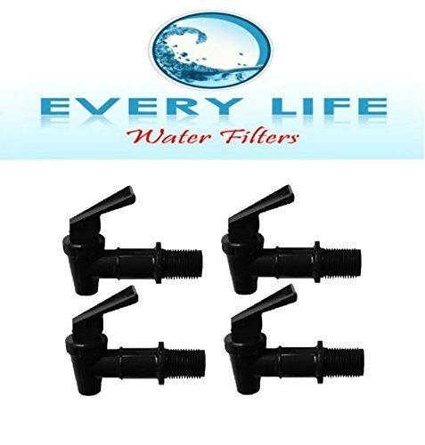 Black Spigot 4-pack, Faucet, Beverage Dispenser, Water Crock, Water Filter Bucket, Water Tap, Made for Gravity Feed with Washers and Nut by Every Life Water Filters