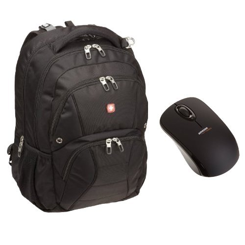SwissGear ScanSmart Laptop Computer Backpack SA1908 and AmazonBasics Wireless Mouse with Nano Receiver Set