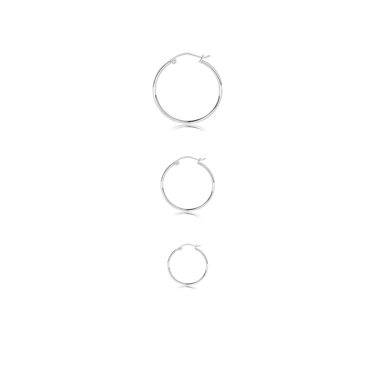 Sterling Silver French Lock Round Unisex Hoop Earrings, Set of 3 Pairs 10mm 12mm 16mm