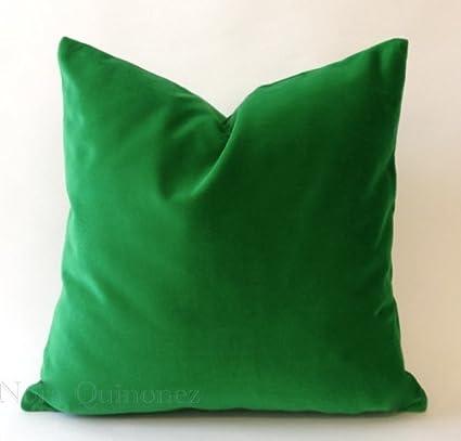 Amazon.com: Kelly Green Cotton Velvet Decorative Throw Pillow Cover ...