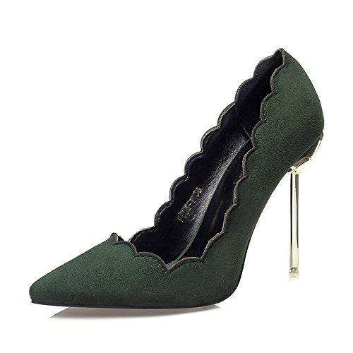 Solo Metal señaló de poca tacón señoras de Banquete Finas YMFIE green Zapatos Sexy Trabajo Zapatos Zapatos Suede Europeo con Nuevo de Estilo OP8aA