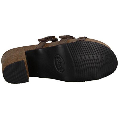 Scholl Micol- Damenschuhe Pantolette / Zehentrenner, Braun, leder/synthetik (nubuk/lamin), absatzhöhe: 45 mm