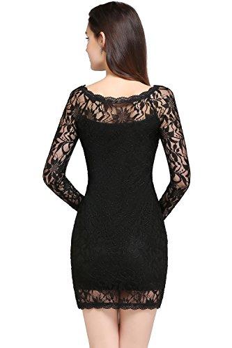 Babyonlinedress Vestido de encaje corto para fiesta cuello redondo sin mangas/ manga larga espalda de cierre estilo ajustado y elegante vestido simple y clásico para mujer negro630