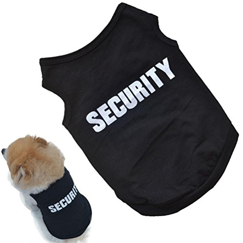 JOYFEEL Hot Sale New Fashion Summer Cute Dog Security Printed Pet Vest Puppy Vest Cotton T Shirt (XS, Black)