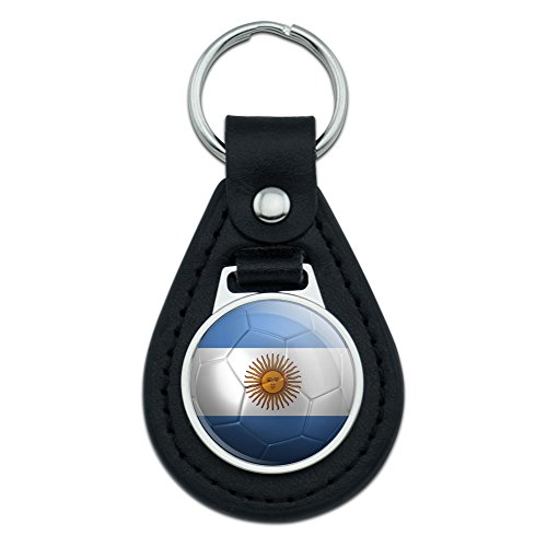 Graphics and More Argentina Flag Soccer Ball Futbol Football Black Leather Keychain - Leather Football Keychain Tag