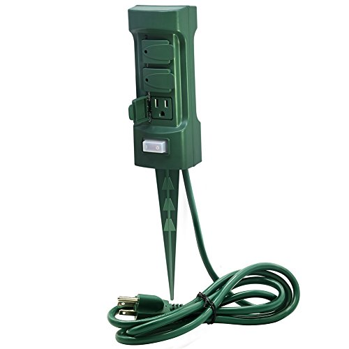 Plusmart 6 Outlet Outdoor Power Stake with Cover and On Off Switch, 6 ft Weatherproof Extension Cord, Green, ETL - Outlets Sc
