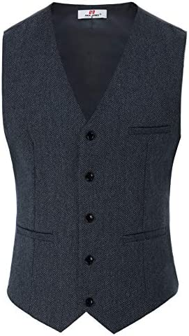 メンズ ビジネススーツ ジレベスト スーツ ベスト Vネック ビジネス 尾錠付き 3ポケット 5ボタン