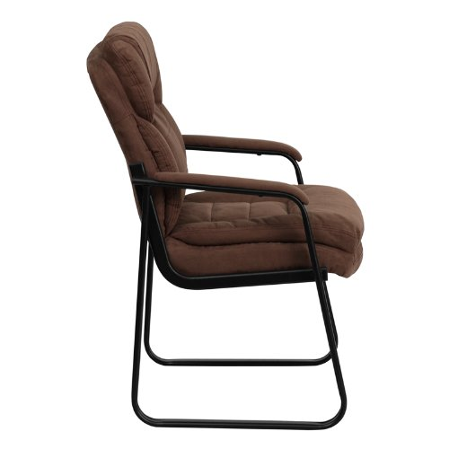 Flash Furniture Brown Microfiber Executive Side Reception Chair with Sled Base by Flash Furniture (Image #1)