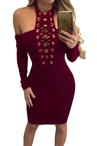 Halter hueco de las mujeres hacia fuera vestido Bodycon Red