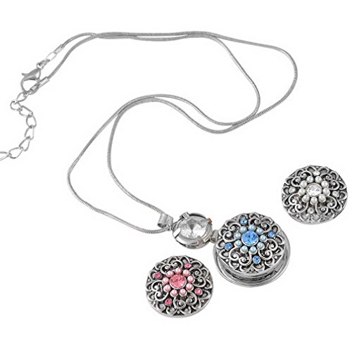Loweryeah 1 PC The Ancient Silver Flowers Set Auger Round Snap Button (Round Auger)