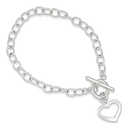 Sterling Silver Polished Open Link Cut Out Dangle Heart Toggle Bracelet Length 7.5 inch ()