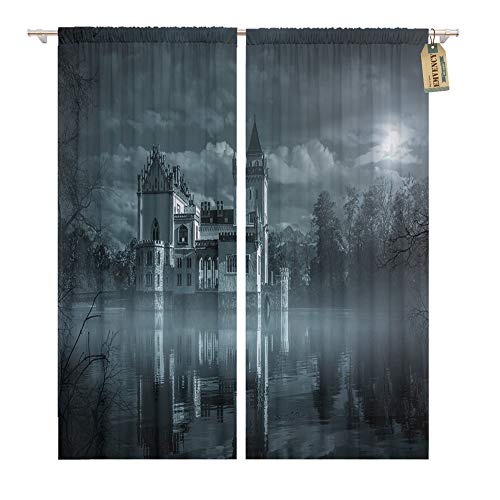 Emvency Window Curtains 2 Panels Rod Pocket Drapes Satin Polyester Blend Dark Mystic Water Castle in Moonlight Haunted Gothic Living Bedroom Drapes Set 104 x 84 Inches