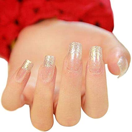 24pcs 12 diferentes tamaños plata Slitter cuadrado parche francés uñas postizas largo completo cover Nail Tips