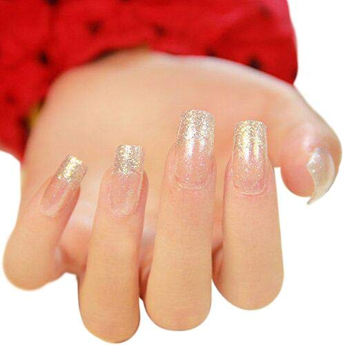 24pcs 12 Different Sizes Silver Slitter Square Patch French False Nails Long Full Cover Nail Tips