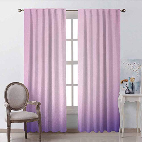 GUUVOR Lavender Wear-Resistant Color Curtain Pink and Purple Ombre Print Modern Pastel Color Gradient Design Digital Art Waterproof Fabric W42 x L63 Inch Pale Pink Lilac (Silk Pink Taffeta Curtains)