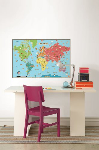 Wall-Pops-WPE0624-Kids-World-Dry-Erase-Map-Decal-Wall-Decals
