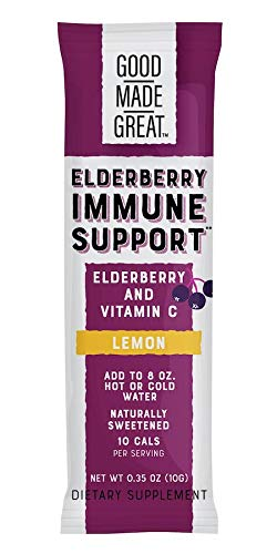 Good Made Great Foods 1250mg Elderberry + 500mg Vitamin C Drink Mix for Potent 2-in 1 Support*:: Non-GMO, 1g Sugar, Natural Lemon Flavor, 12 Stick Packs