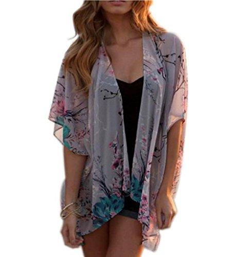 Women's Chiffon Lace Floral Printed Kimono Cape Coat Blouse Shirt Tops