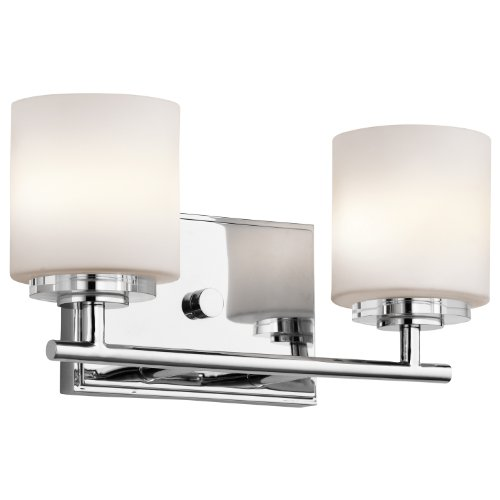 Classic Chrome Landscape Lighting - Kichler 45501CH O Hara Bath 2-Light Halogen, Chrome