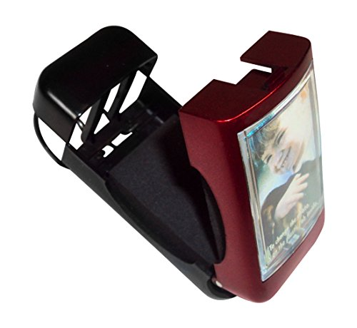 Sunglasses Clip with Photo Window - Car Visor, Belt, Purse - Red, Sunglasses Visor Clip For Sun Visor, Car Glasses Holder, Car Visor Ticket Clip Holder, Auto Reading Glasses Or - Sunglasses Of Photos
