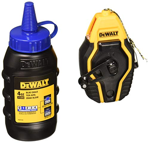 DEWALT DWHT47257L Compact Chalk Reel Kit w/ 4 Oz Container of Blue -