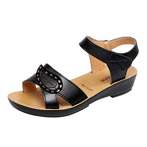 Women Leather Knot Sandals,Ladies Summer Sandals Wedges Comfort Soft Bottom Maternity Shoes Hook Loop Strappy Sandals (B_Black, US:7.5)]()