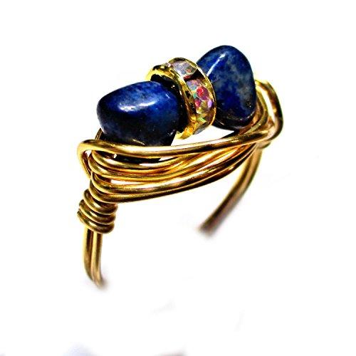 Natural Gold Nugget Ring (Lapis Lazuli Gemstone Nugget Duet Wire Wrap Ring)