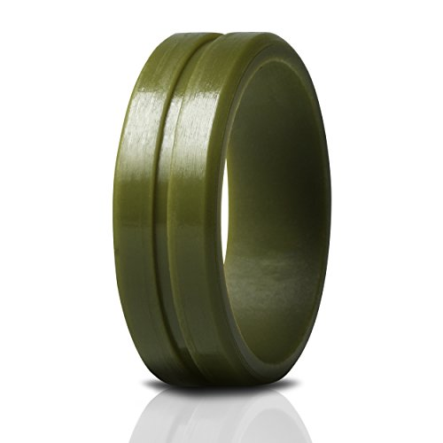 Saco Band Silicone Ring Wedding Bands for Men (Olive Green, 9.5-10 (19.8mm))