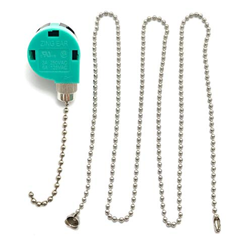 """3 Speed 4 Wire Zing Ear ZE-268S6 Pull Chain Switch & 39"""" Beaded Pull Chain Extension,Control Switch Ceiling Fans, Wall Lamps, Cabinet Light -  Apowanworld"""