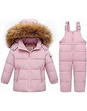Unisex Baby tecknad snödräkt vinter varm baby flickor pojkar snödräkt pälshuva dunjacka + skidor haklapp byxor 2 delar set outfit/1–3 år