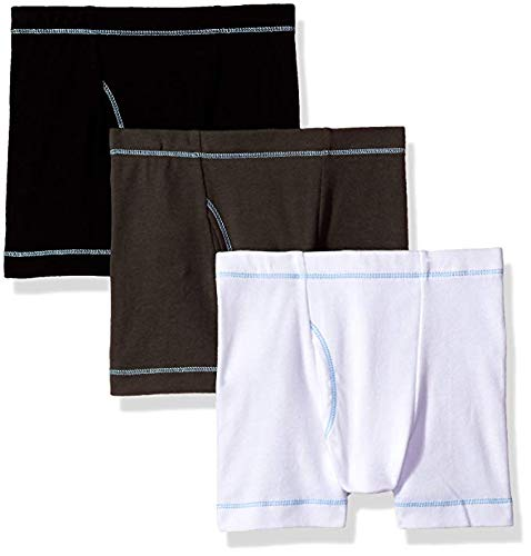 City Threads Boys' Boxer Briefs 100% Super Soft Cotton for Sensitive Skin Sensory Friendly SPD School Play Sports Active, 3-Packs, Basics, 4