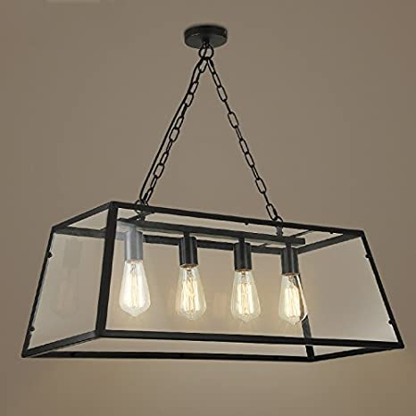 Adjustable Industrial Retro Hanging Island Light LITFAD Wide - Hanging island light fixture