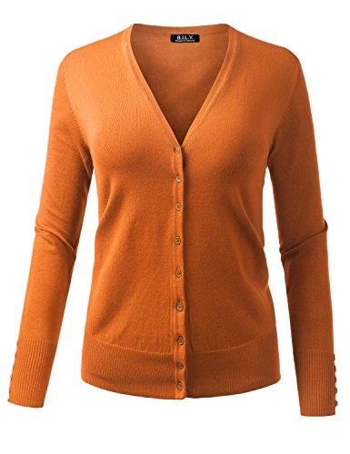 BILY Women's V-Neck Button Down Long Sleeve Classic Knit Cardigan Light Orange Medium