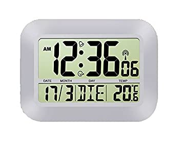DeliaWinterfel Reloj de Pared con Alarma, Snooze, Calendario y Temperatura, Radio controlados by: Amazon.es: Hogar