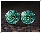 because meet you Succulent Cufflinks, Handmade Nature Cufflinks, Little Cactus Cufflinks Gift Unique, Fibonacci Spiral Cufflinks, Golden Ratio Cufflinks